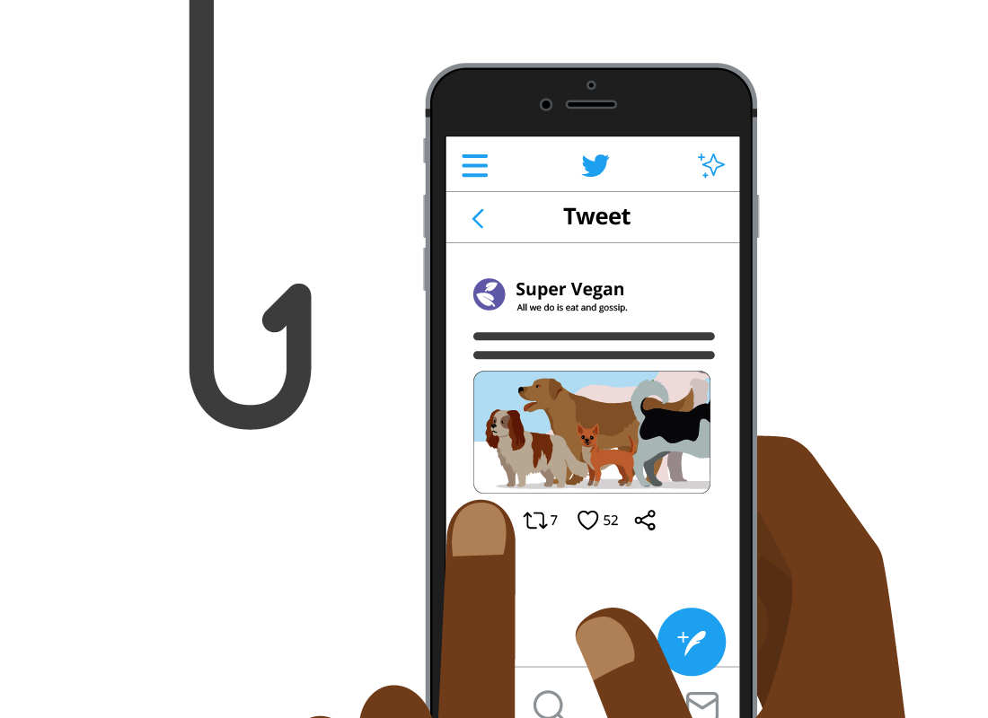 A tweet with a fishing hook next to it
