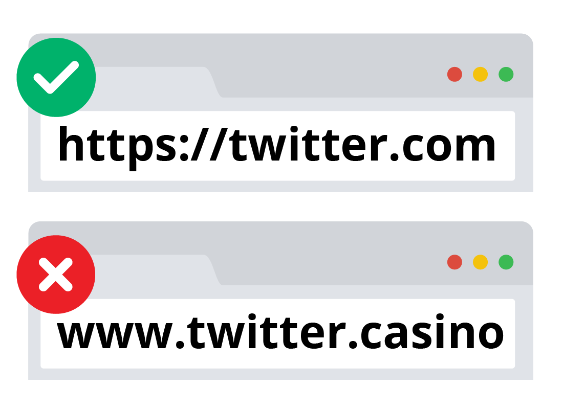 The real Twitter URL and an imposter Twitter URL