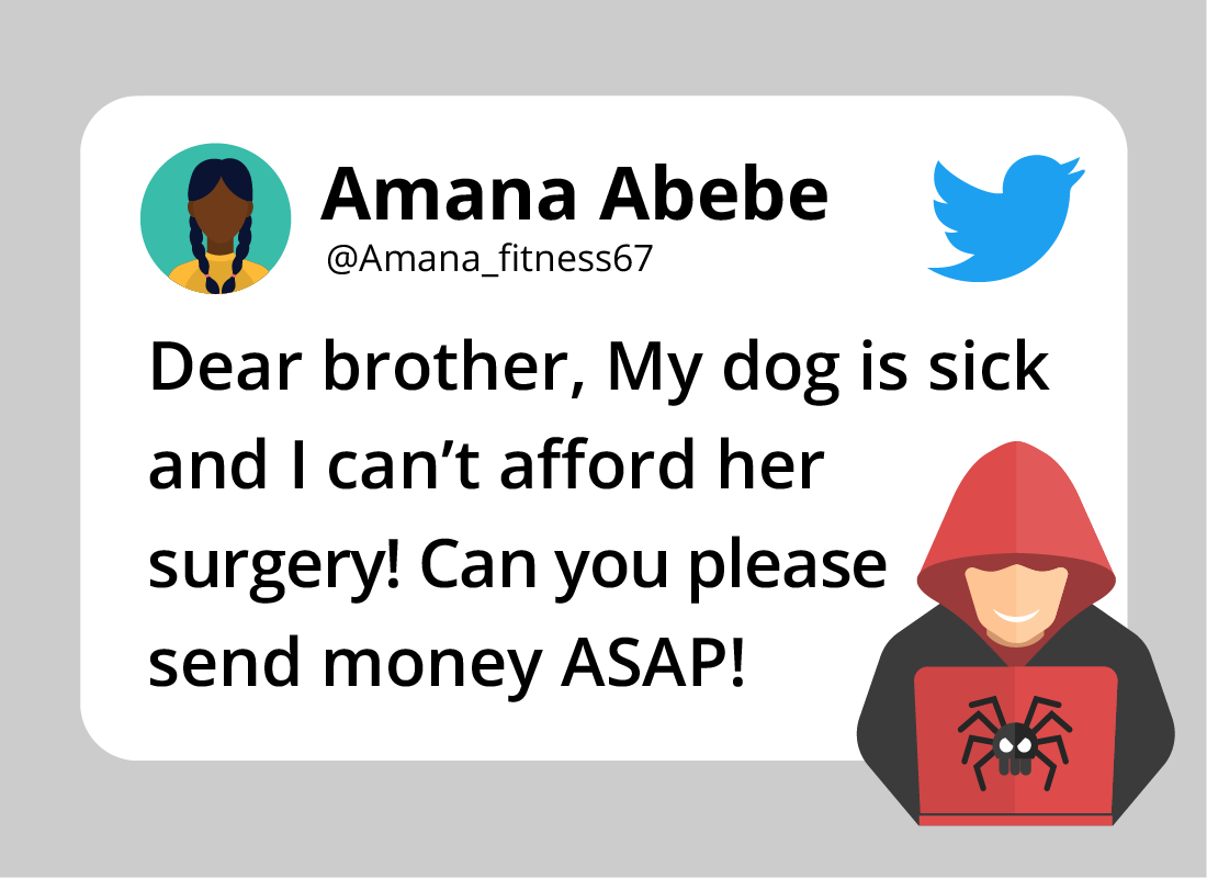 An example of a tweet displaying a money-making scam