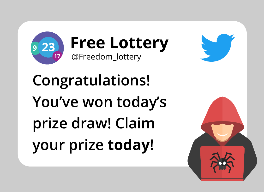 An example of a tweet showing a lottery scam