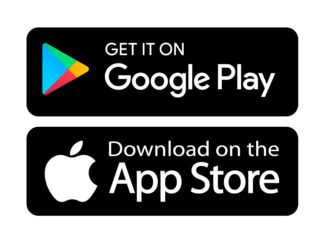 The Apple App store and Google Play Store logos