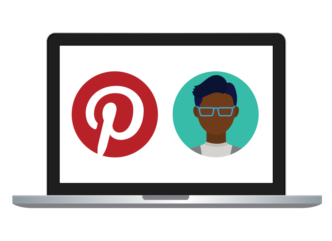 A laptop with a profile photo and the Pinterest logo on the screen