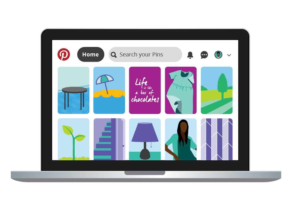 The Pinterest feed on a laptop