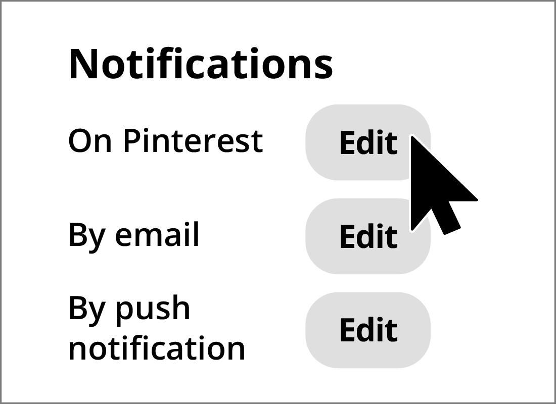 Adjusting notification settings in Pinterest