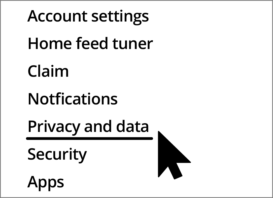 The privacy and data menu item