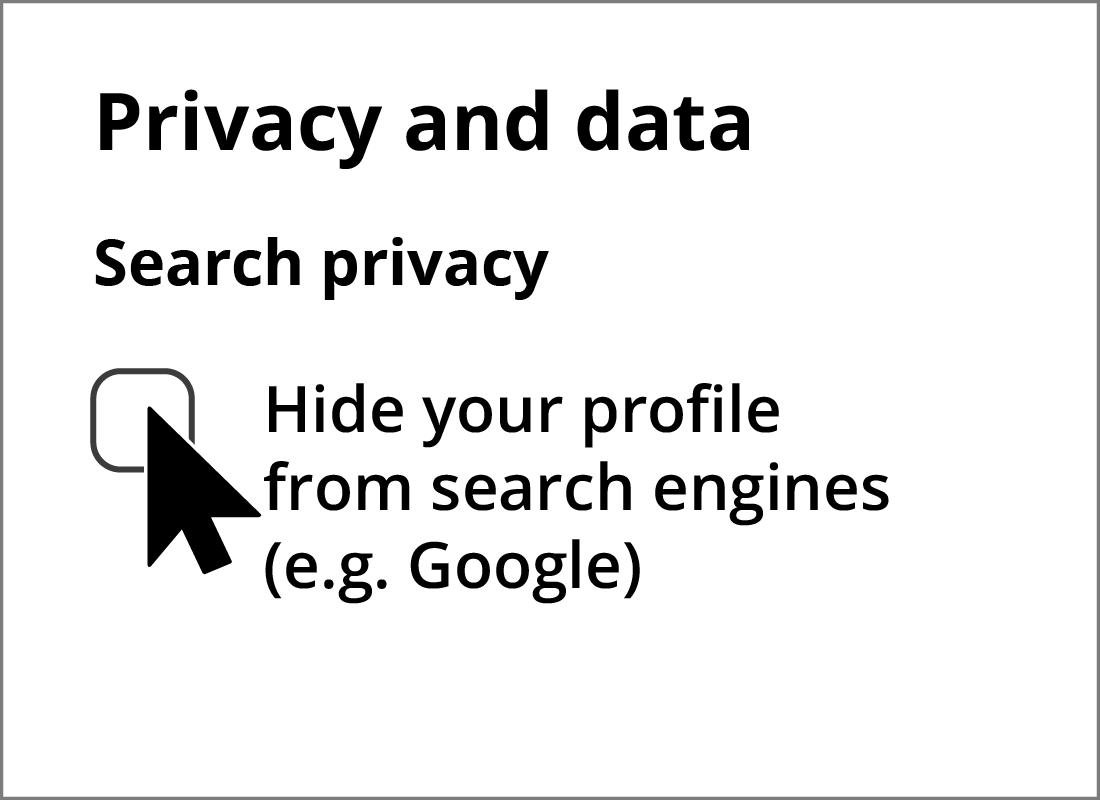 The search privacy menu item