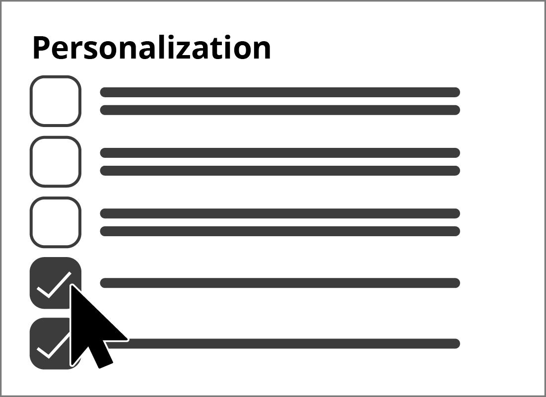 The personalisation menu item