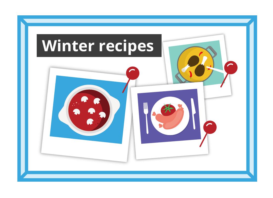 A winter recipe board and a fashion board.