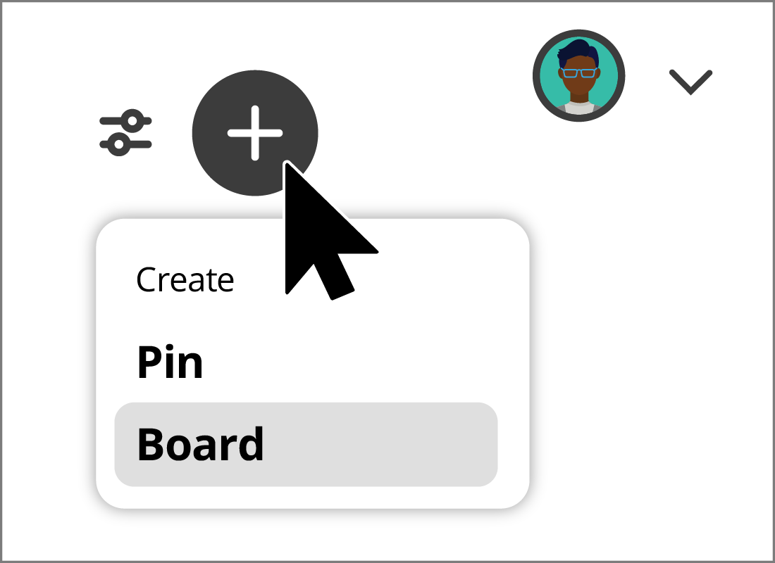 Creating a new board in Pinterest.