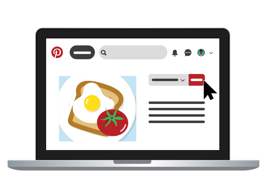 The Pinterest platform displaying a photo of eggs and tomoato on toast