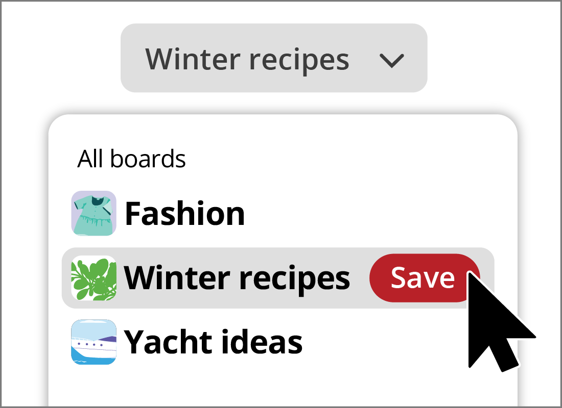 Saving a photo to the winter recipe board