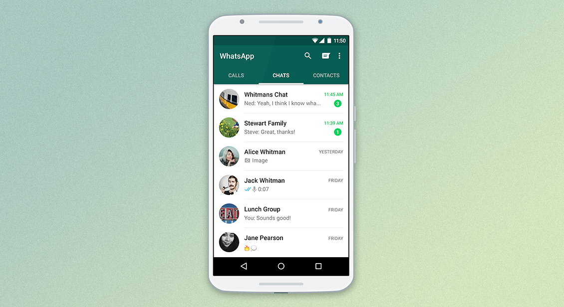 Whatsapp chat screen displayed on mobile phone.