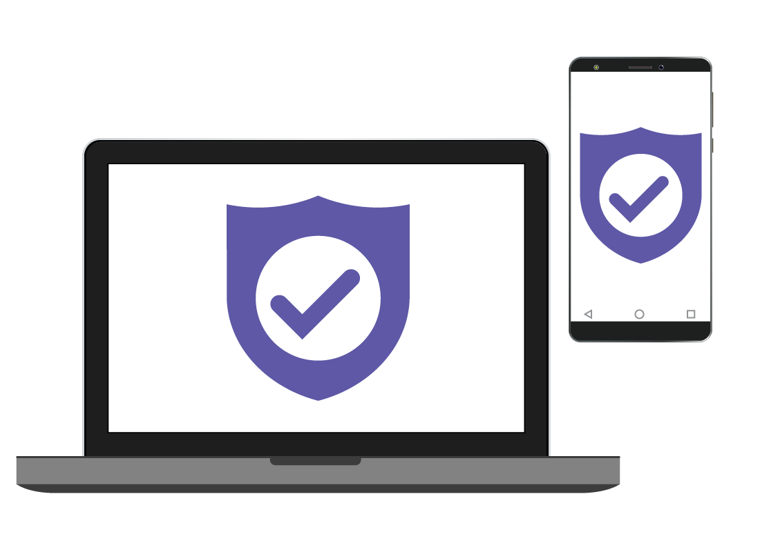 A laptop and a phone protected by antivirus software