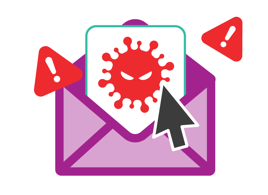 A virus coming out of an envelope
