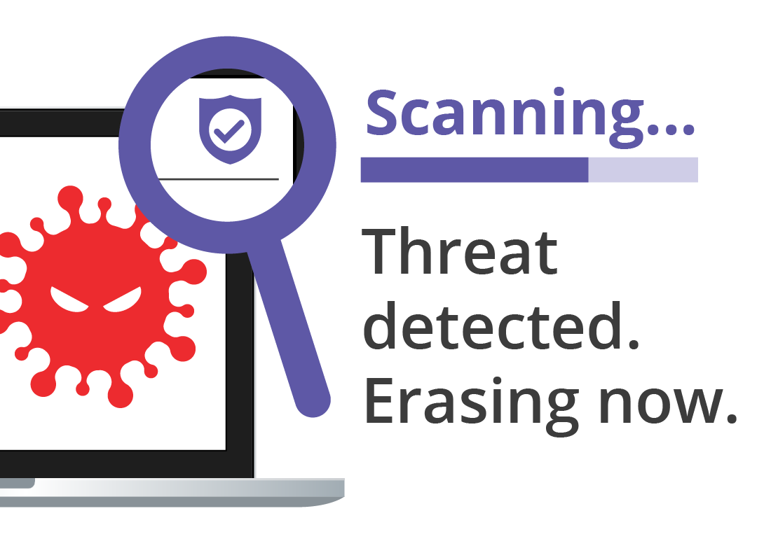Antivirus software detecting a threat and removing it from the device