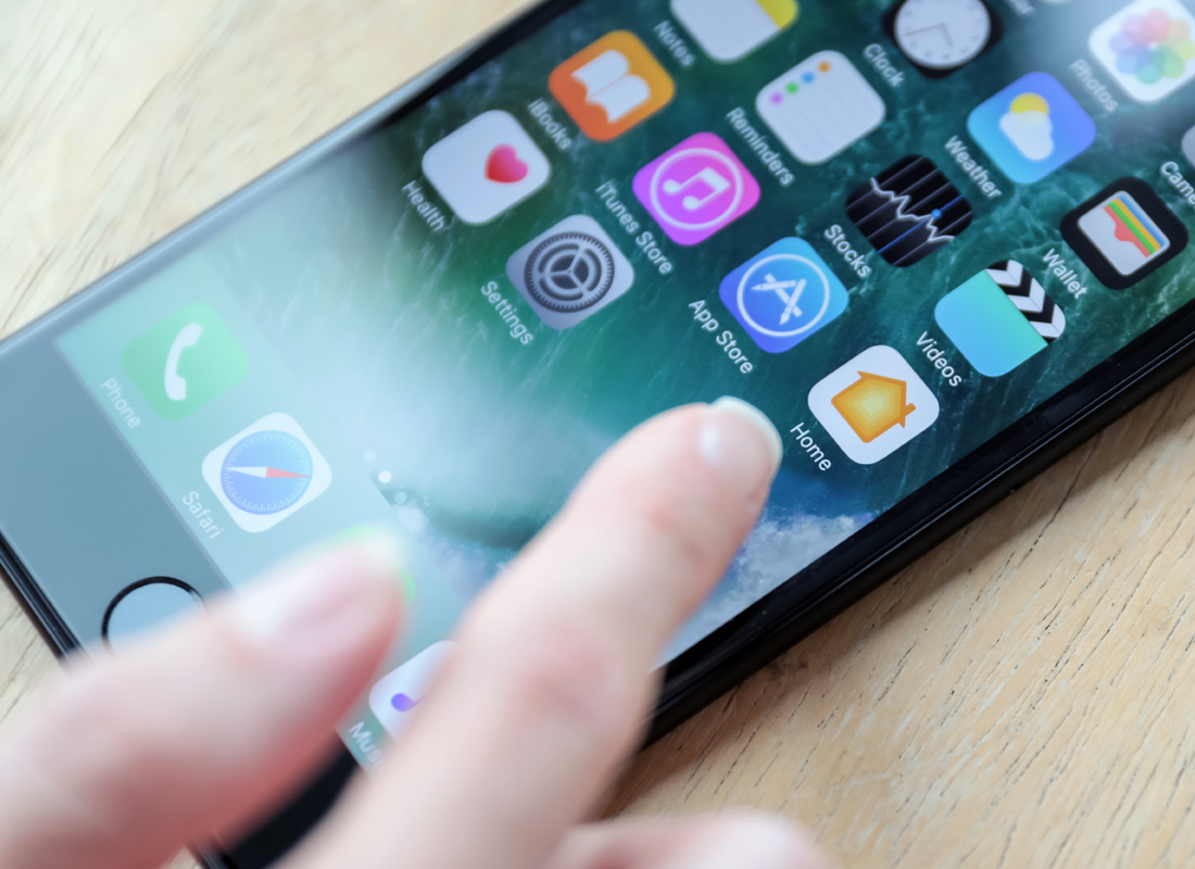 Choosing an app on a smartphone