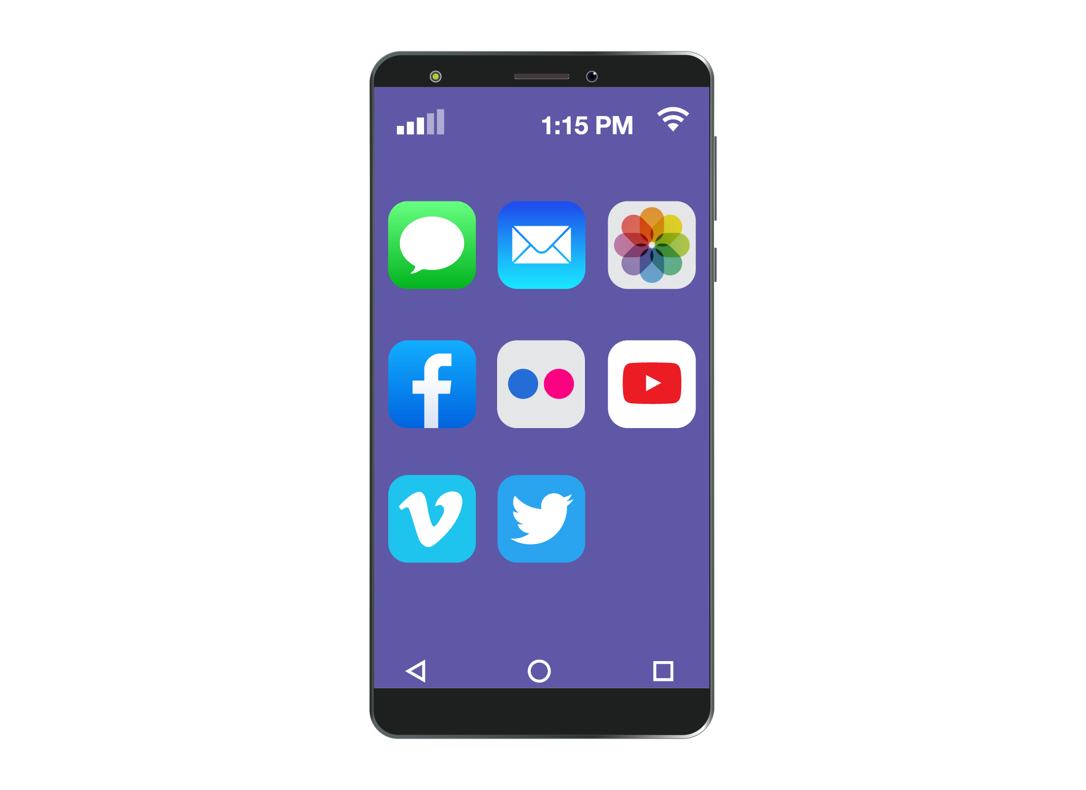 A typical smartphone displaying a selection of small icons known as apps