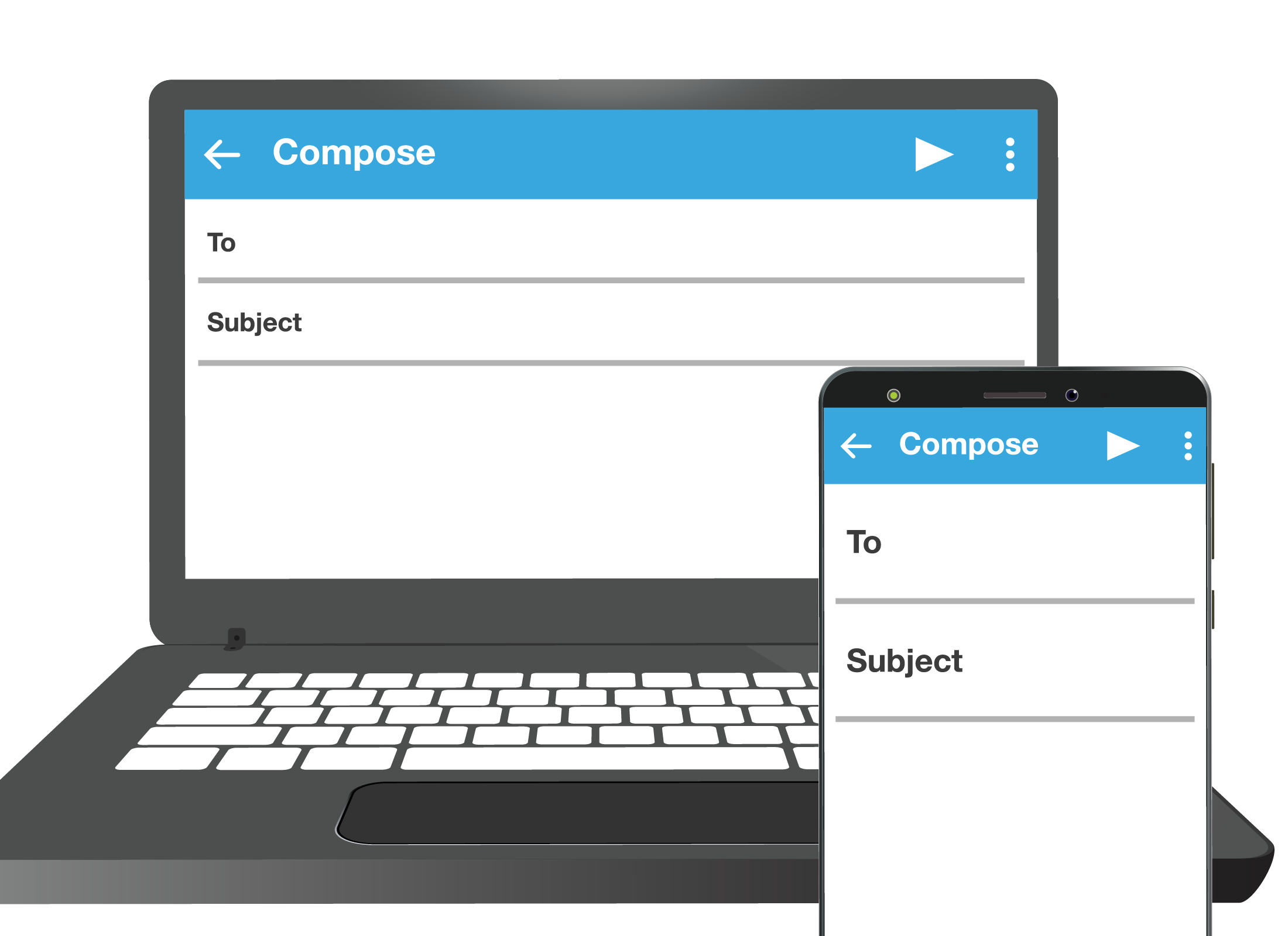 The same email app displayed on a laptop computer and slightly differently on a smartphone