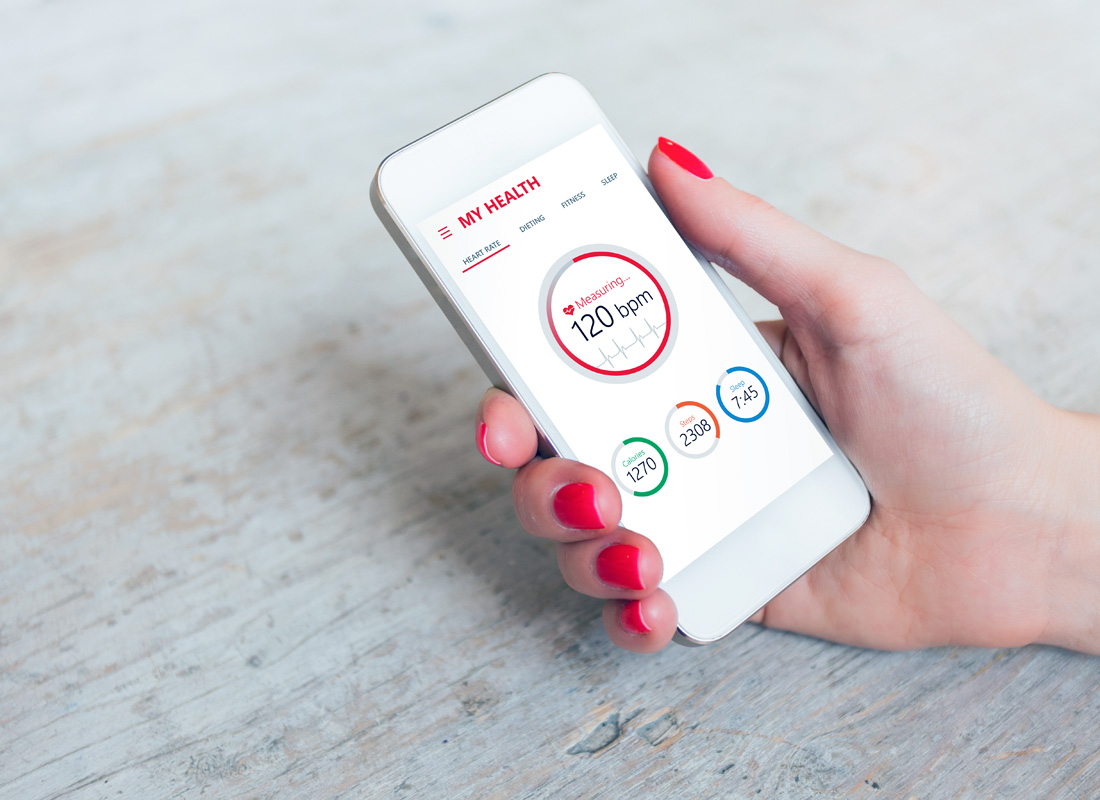 A health app displaying heart rate and other health indicators