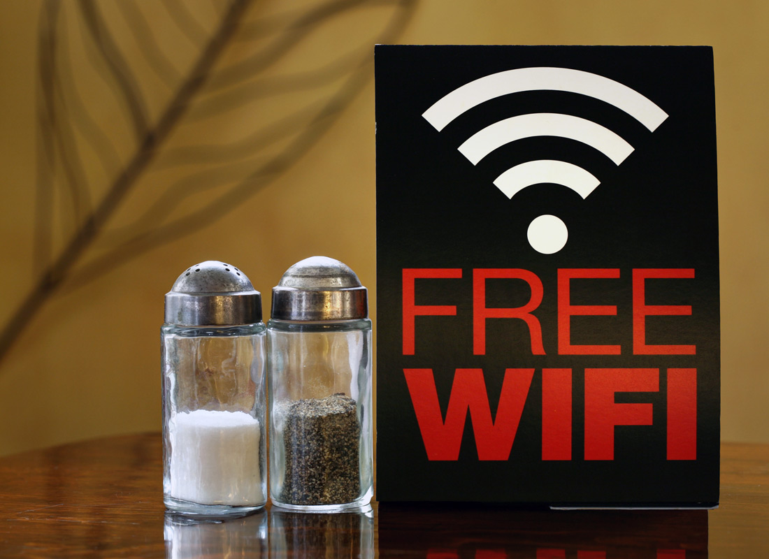 A typical sign advertising free public Wi-Fi