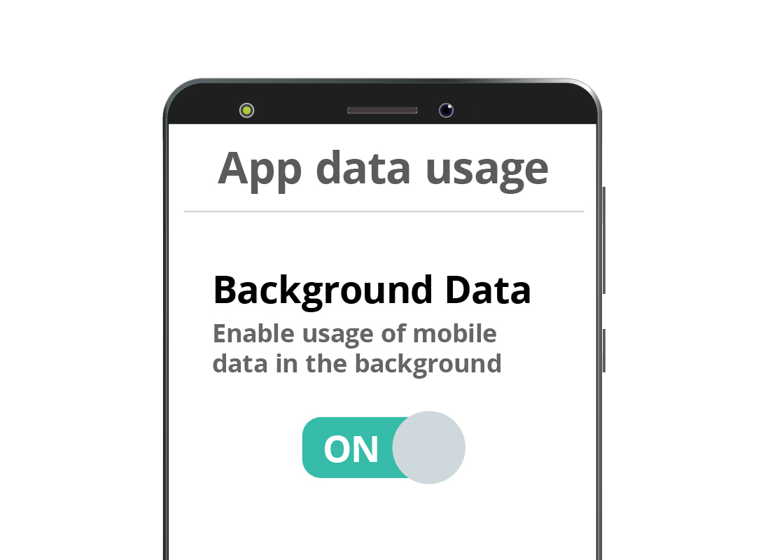 The Background Data switch in the Settings of an Android smartphone