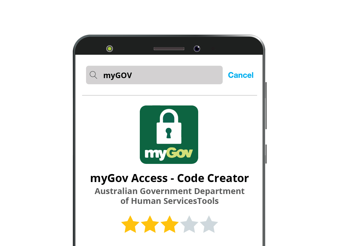 A zoomed-in view of a search for the myGov app on an official app store