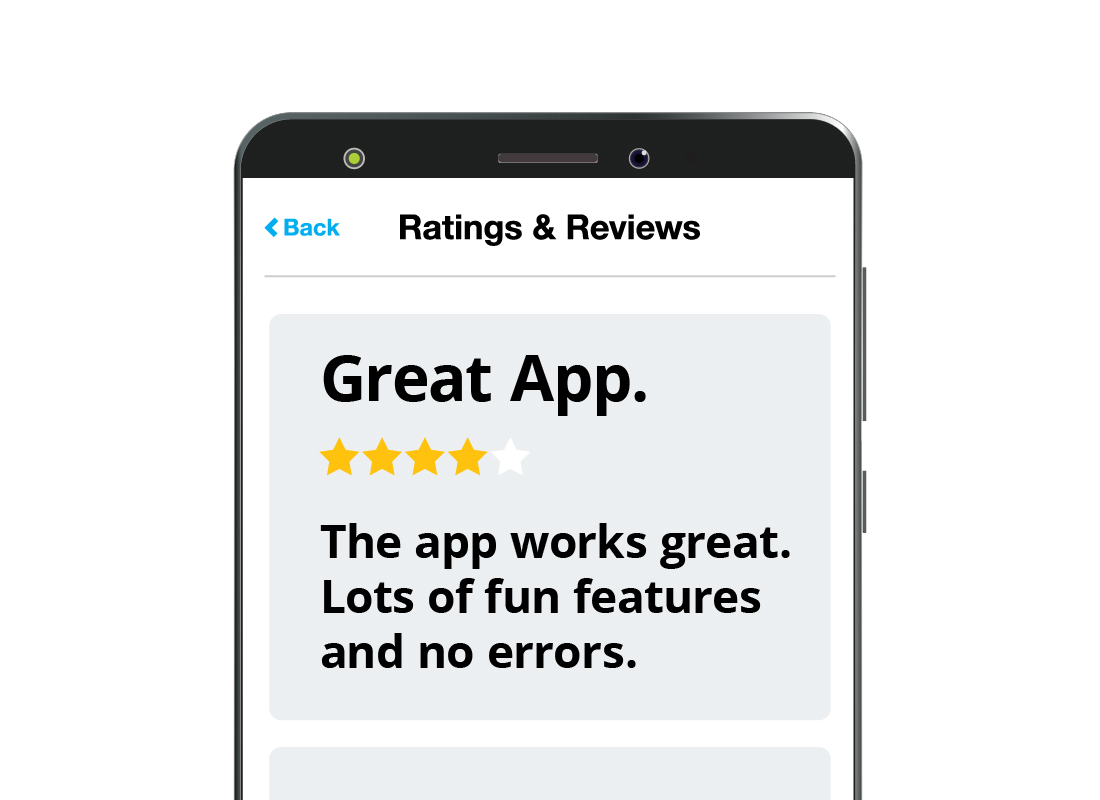 A zoomed-in view of a review for an app on the official app store