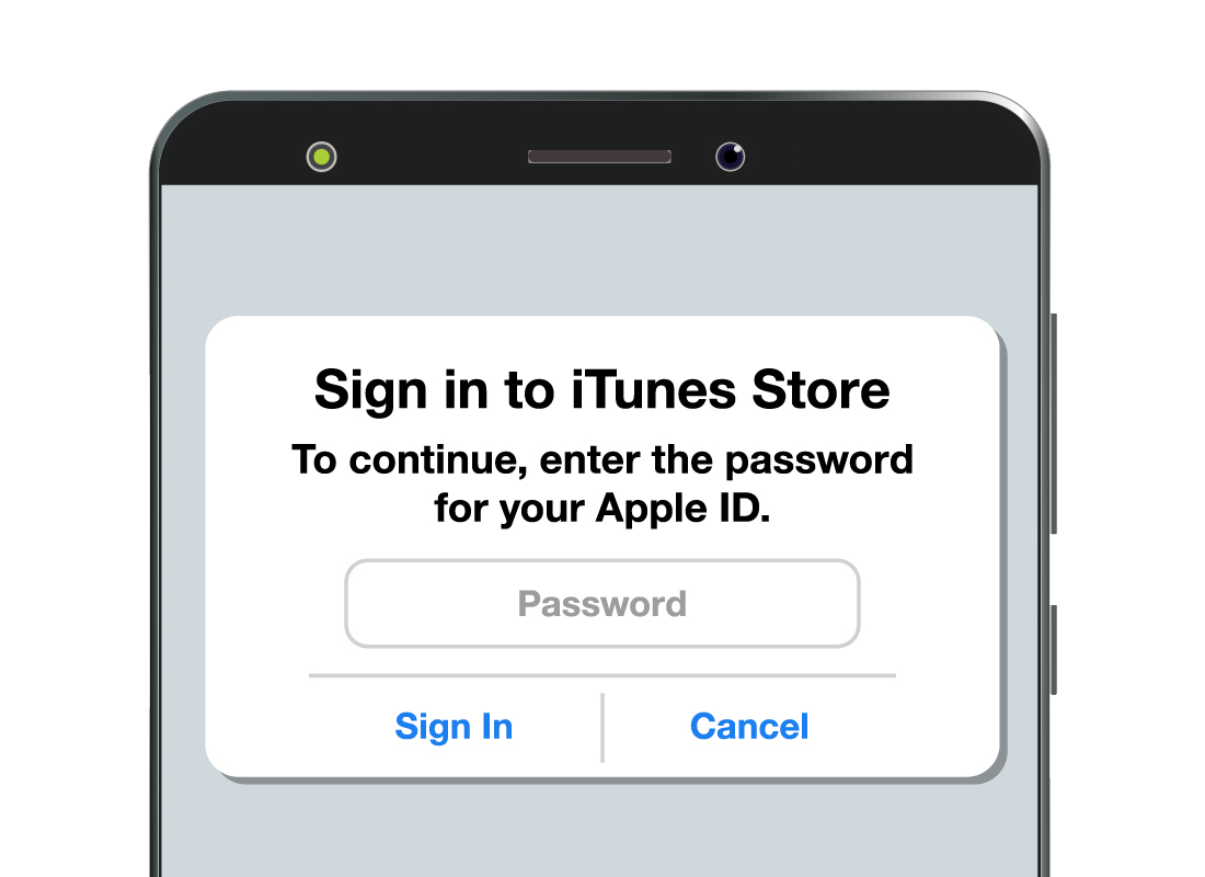 A request screen to enter your Apple ID in order to confirm your app purchase