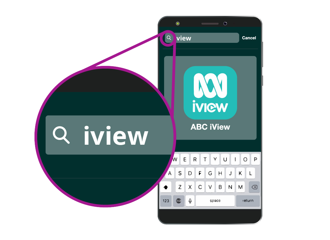 A search for 'iview' on a smartphone to locate the right app quickly