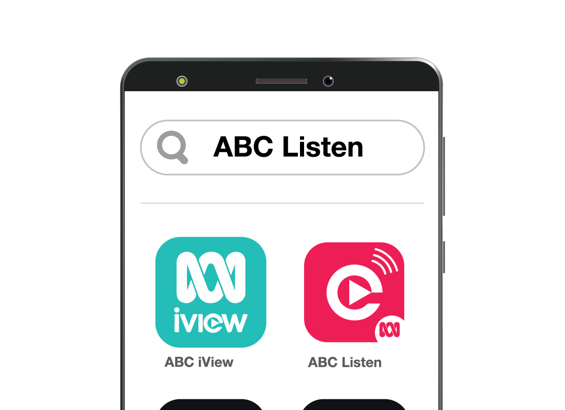 A search field on the Android phone to locate the ABC Listen app quickly