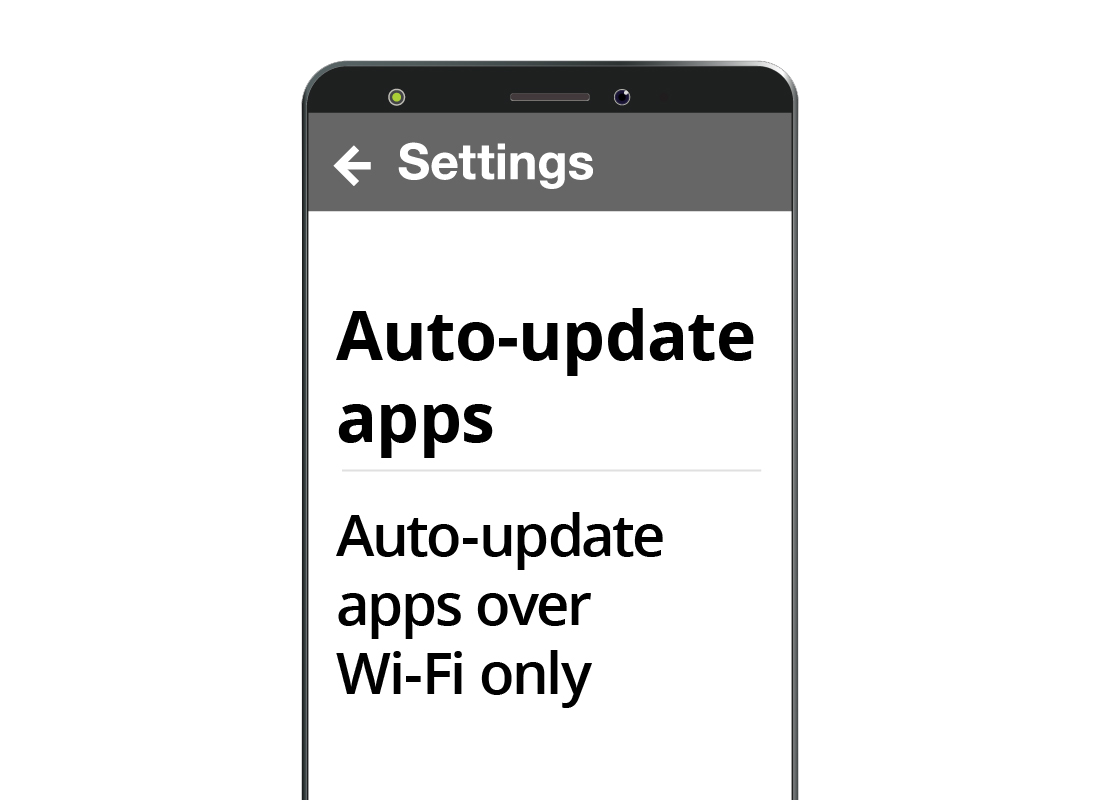 An Android smartphone Auto-update app setting showing it is set to update only over Wi-Fi