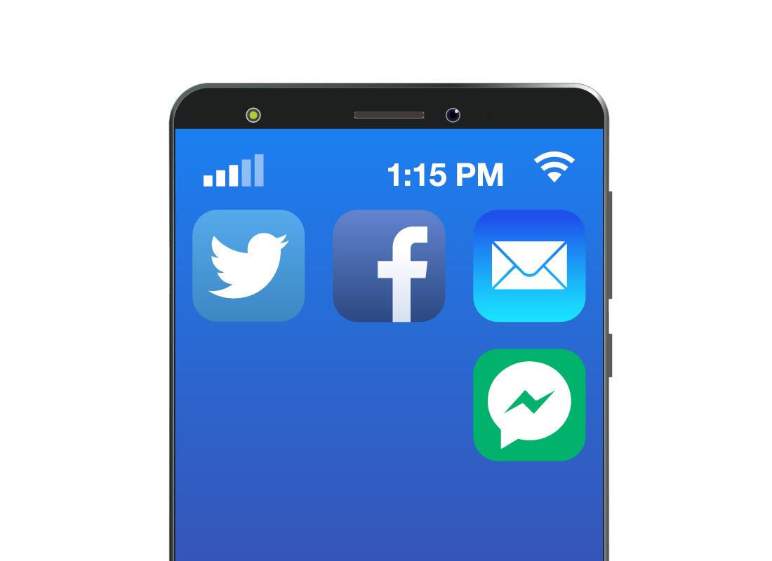 A smartphone screen showing all communication apps grouped together