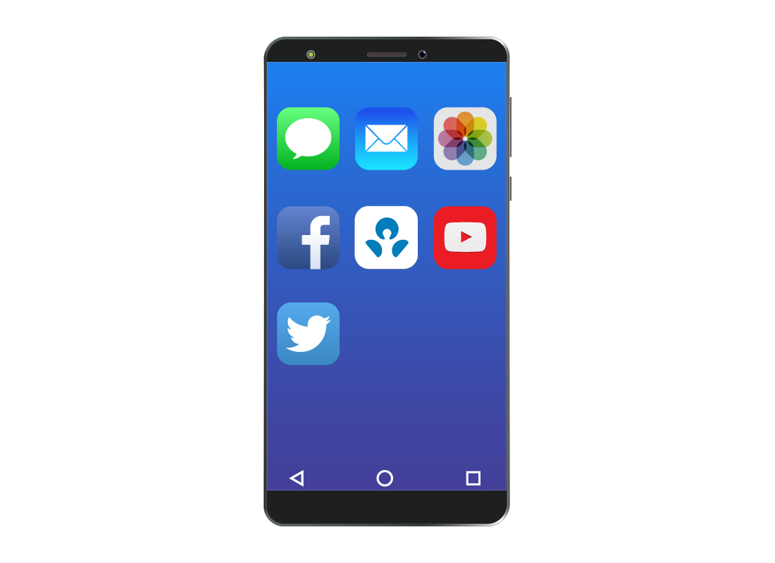 A typical smartphone screen showing different app icons