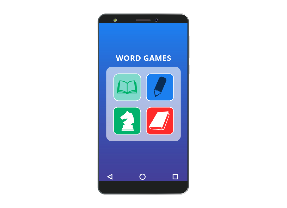 Game apps grouped into a folder on a smartphone screen to make them easier to find
