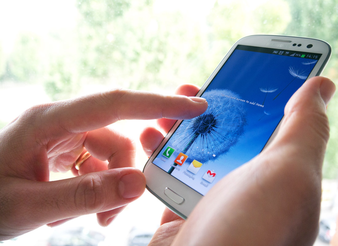 A smartphone with a clear and uncluttered screen