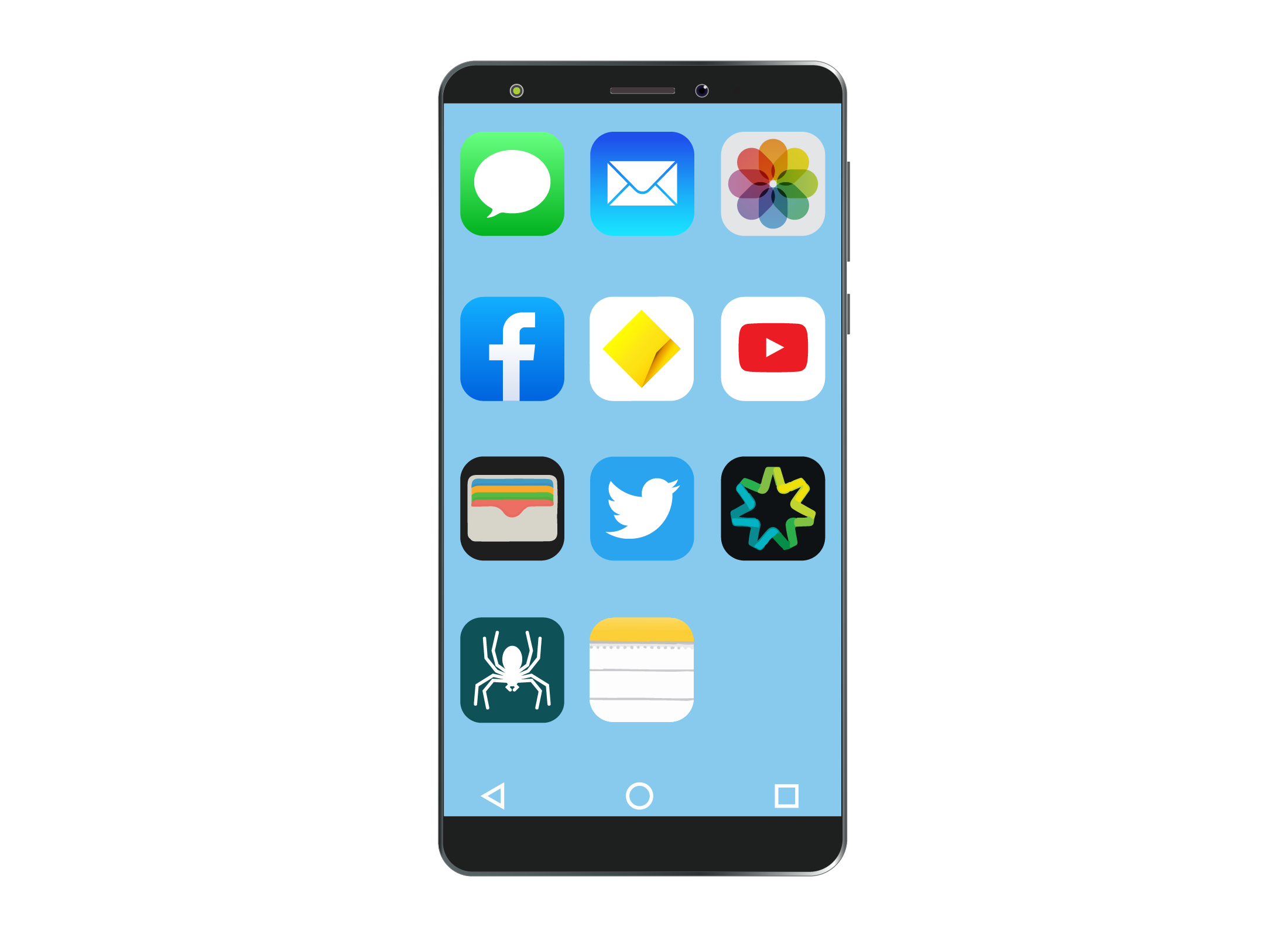 A typical smartphone screen with a number of different apps on display