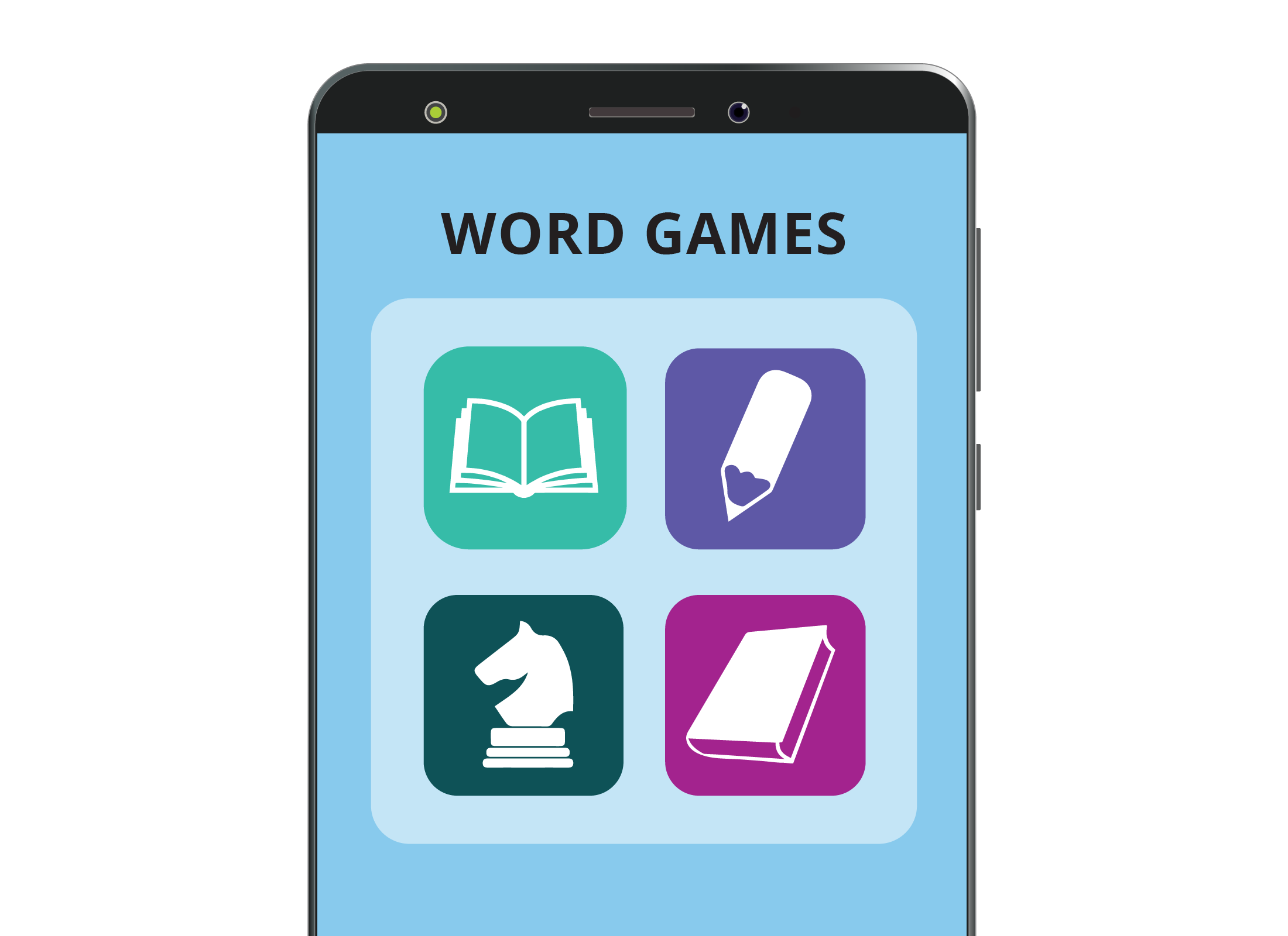 Word game apps grouped into a folder on a smartphone screen to make them easier to find