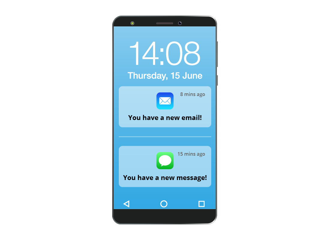 Some typical notifications on a smartphone screen