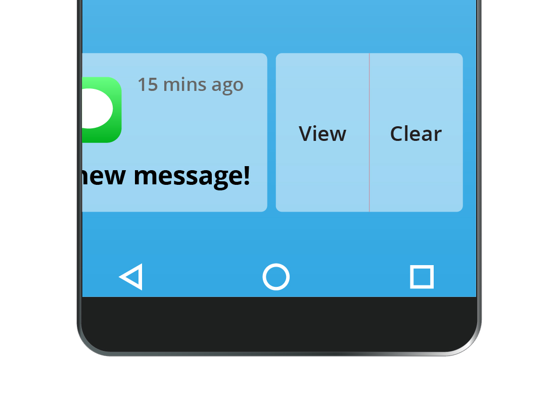 A zoomed-in view of the options to view or clear a notification from a smartphone screen