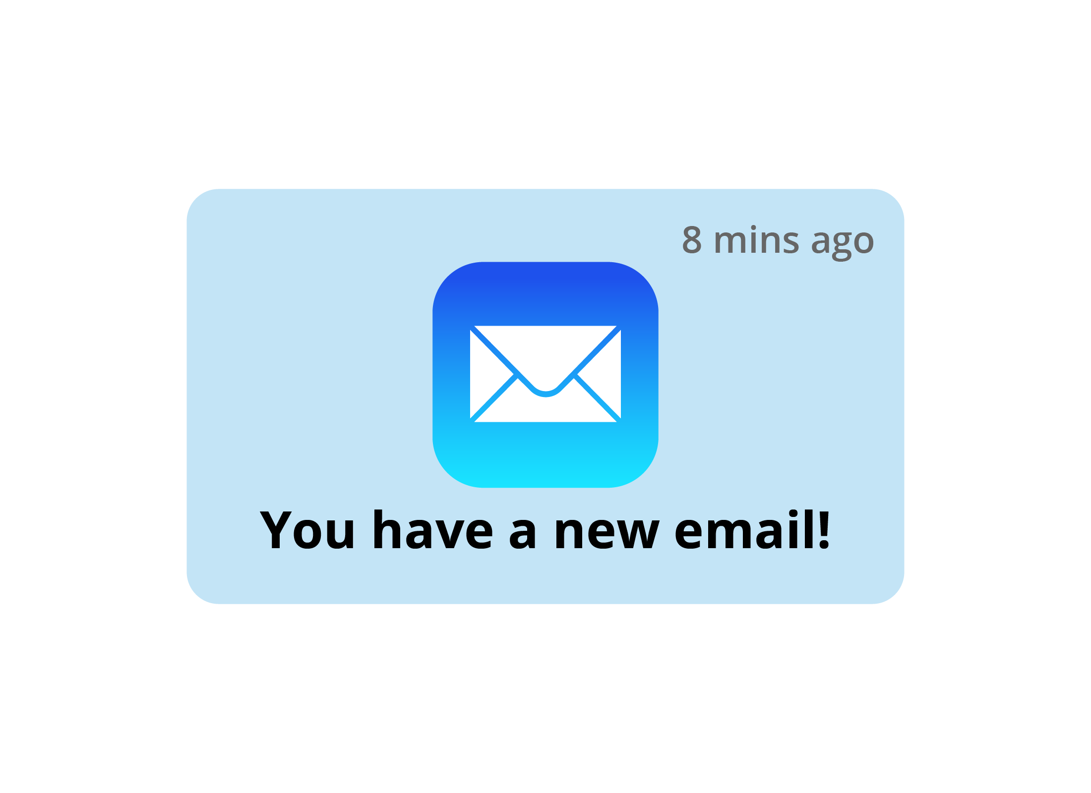 A zoomed-in view of a 'you have a new email' notification on smartphone screen