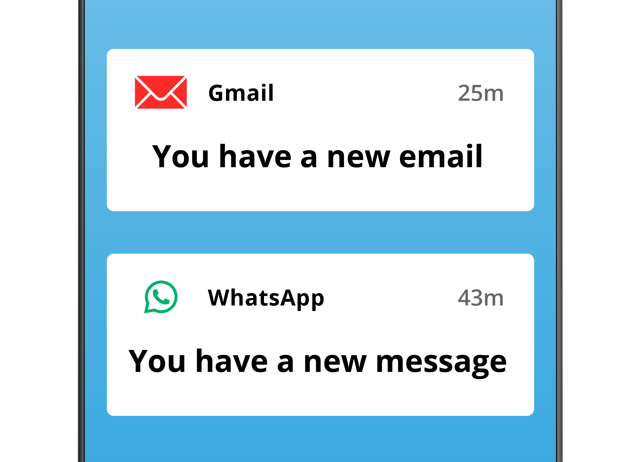 A zoomed-in view of two notifications on a smartphone screen