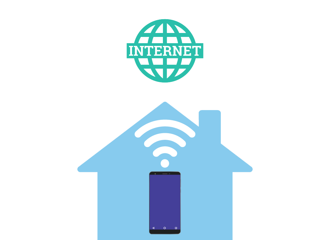 An illustration showing a home connecting to the internet