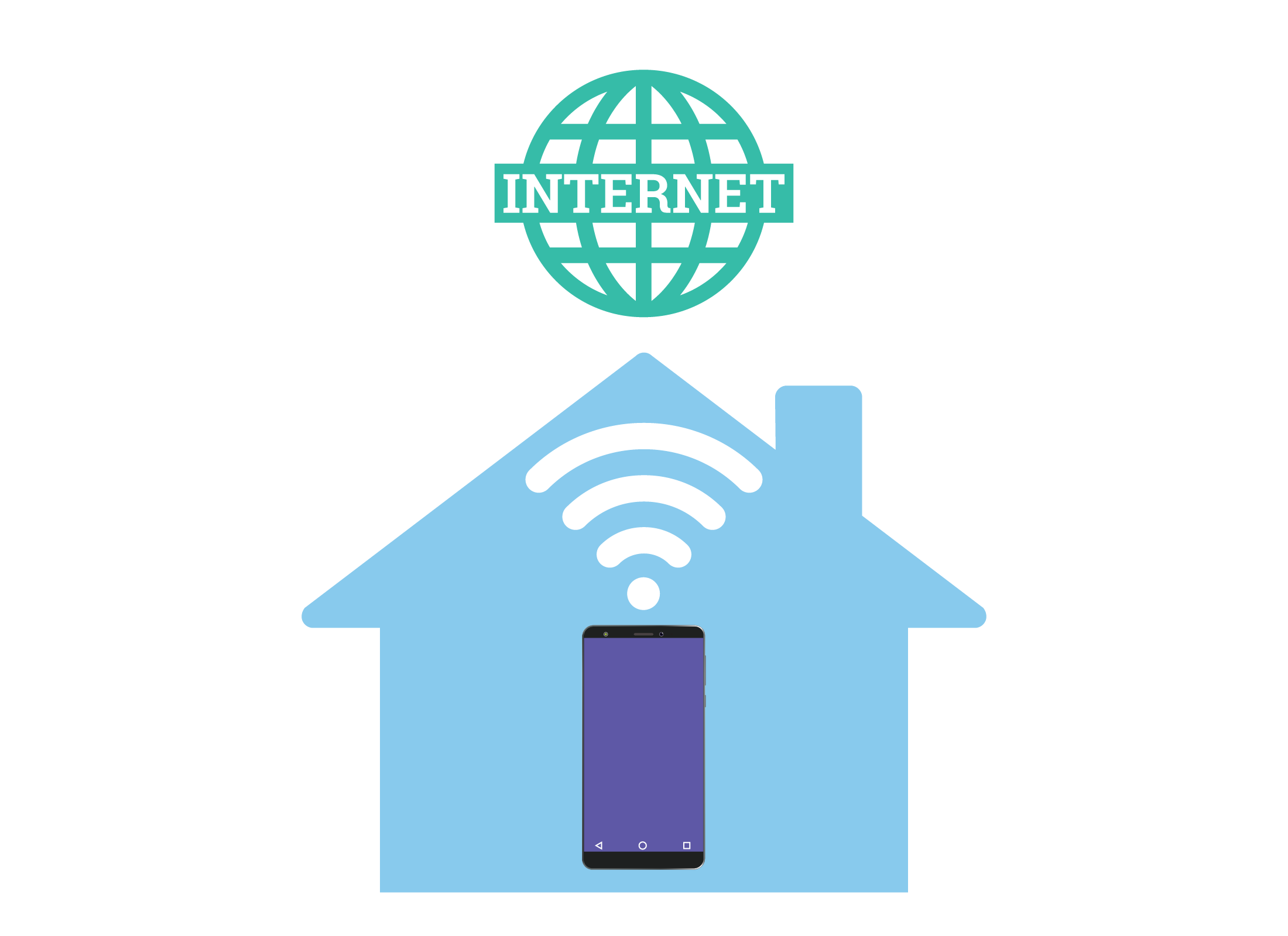 An illustration showing a smartphone in a home connecting to the internet using home Wi-Fi
