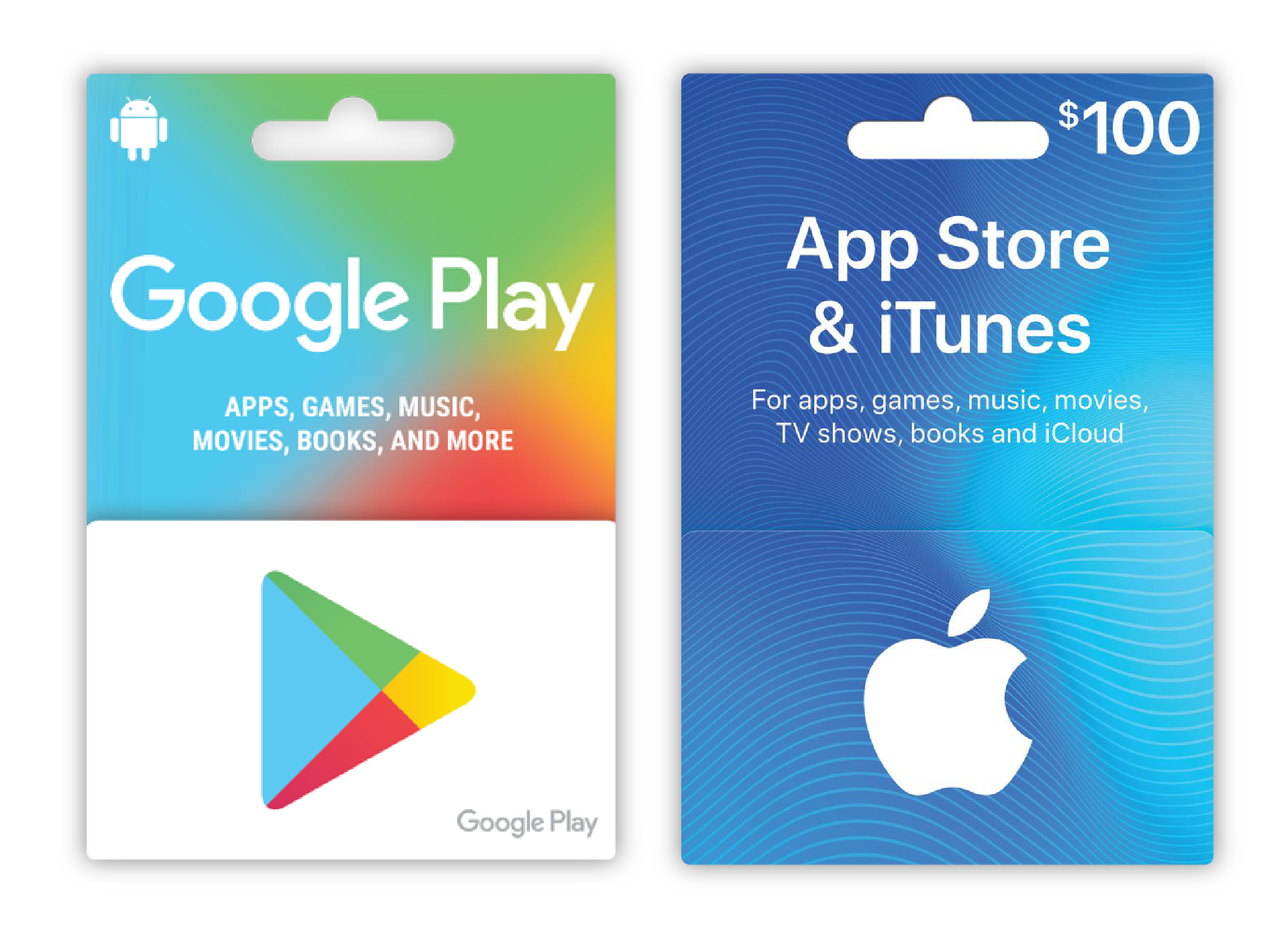 Examples of app gift cards that can be found in many convenience stores and supermarkets - sometimes even on discount