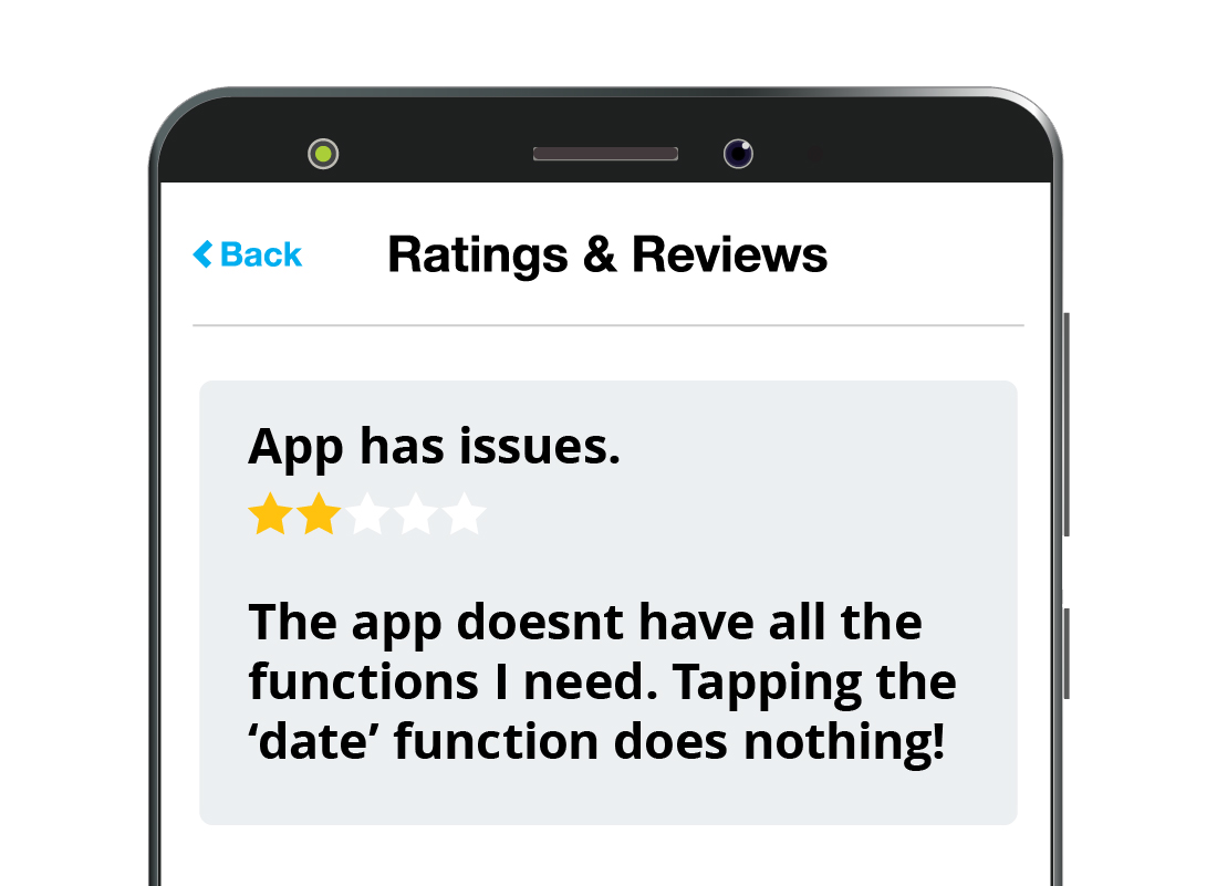 An example of a low rating for an app on the App Store