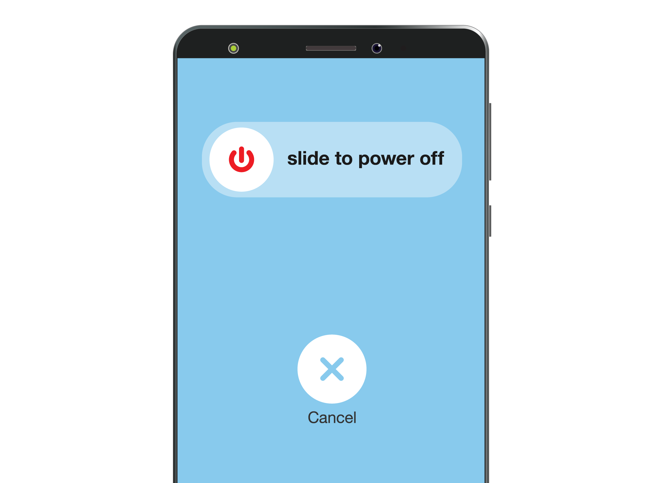 The 'slide to power off' switch displayed on a smartphone screen