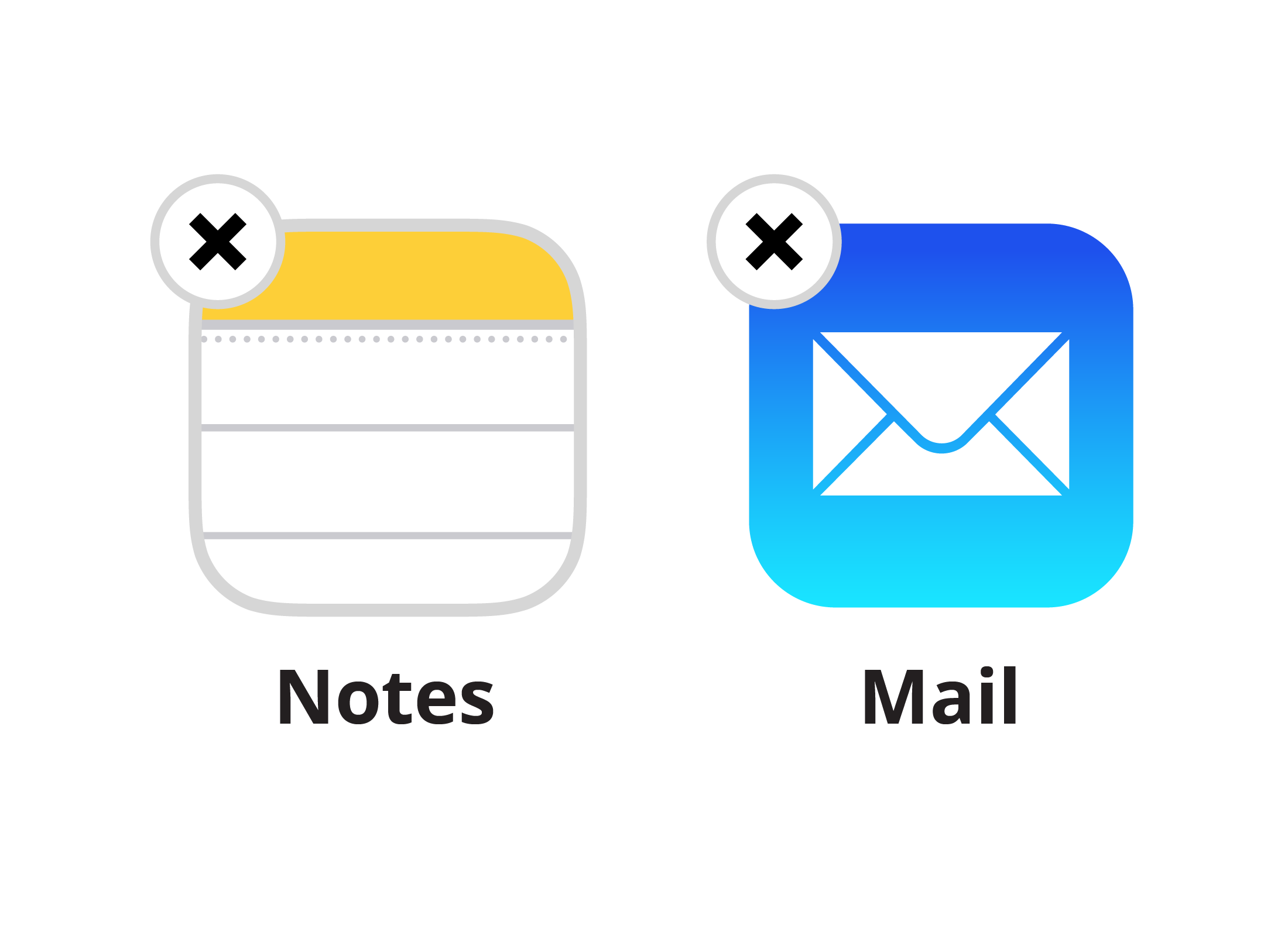 A zoomed-in view of two apps, showing the 'x' in the corner of the icons indicating they can be deleted