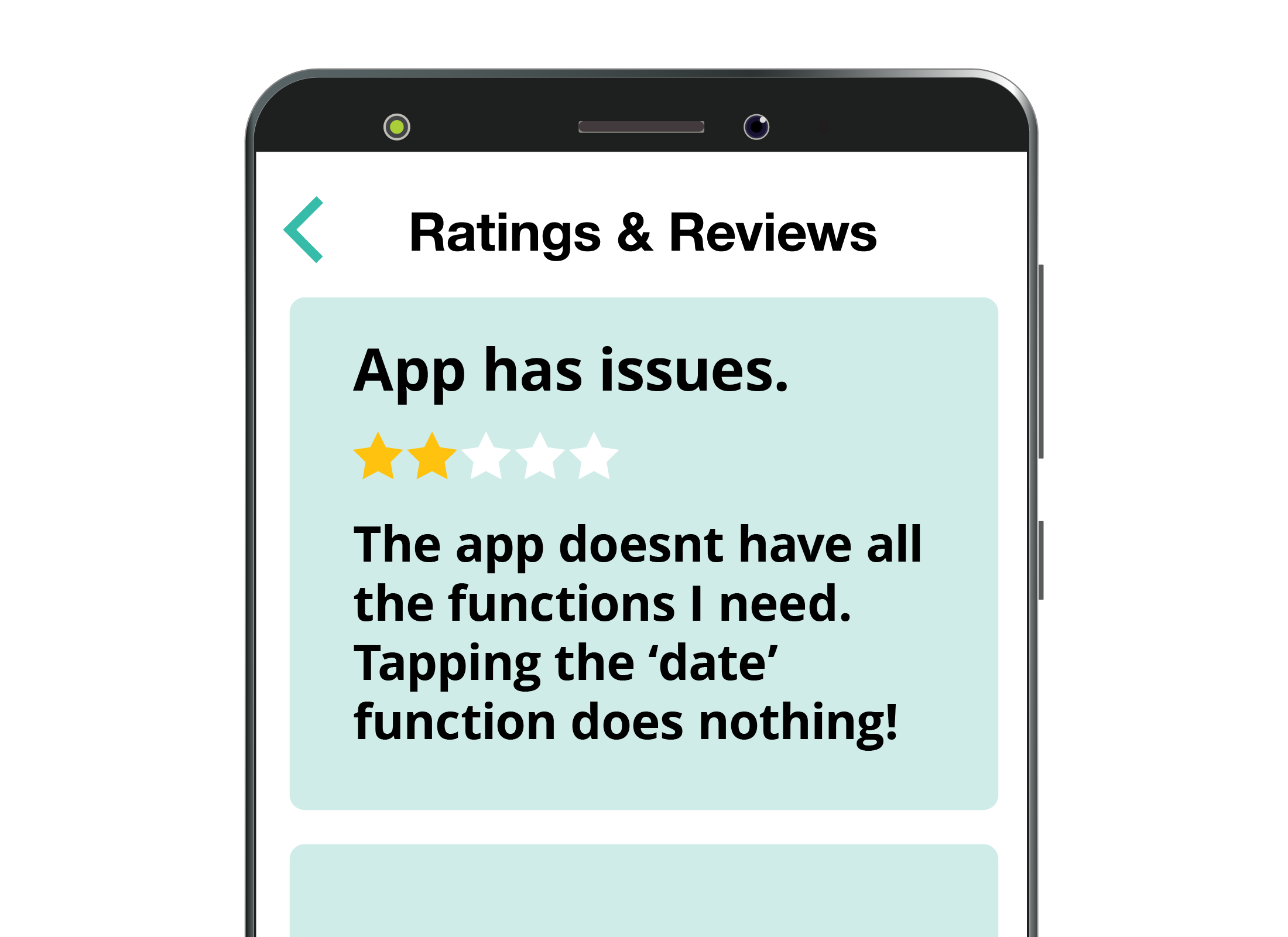 An example of a low 2 star rating and feedback for an app on the App Store