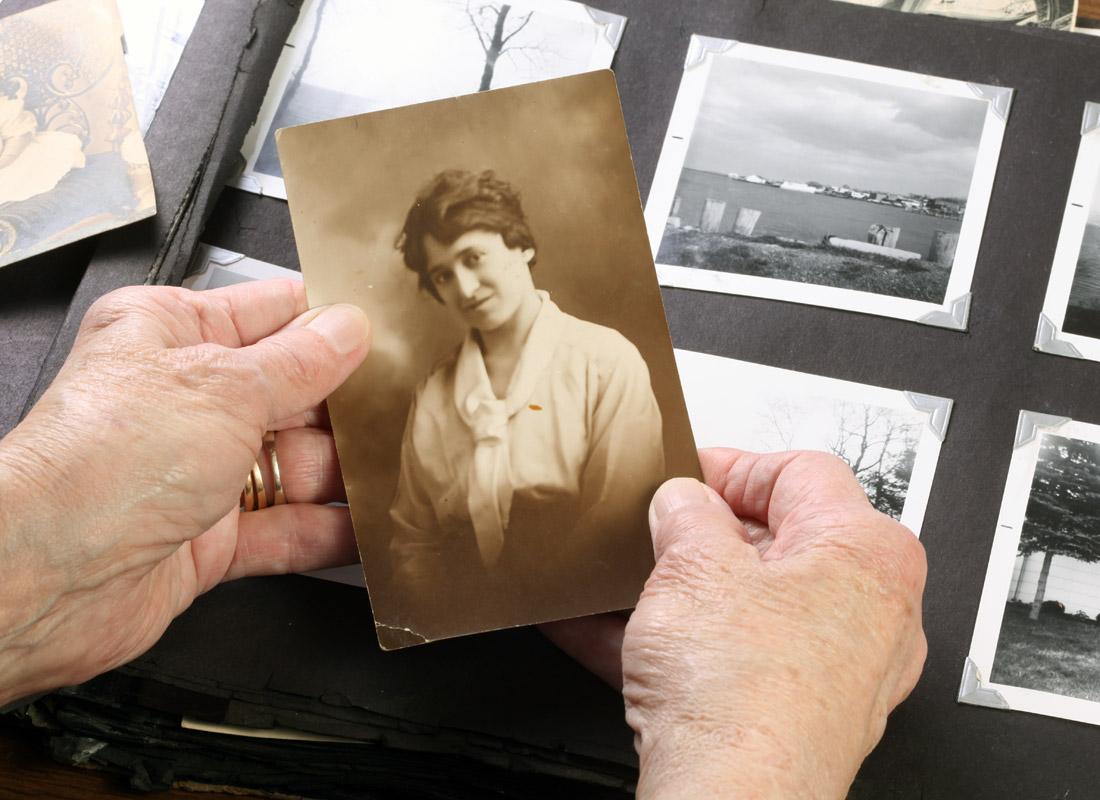 A treasured family photo ready to go into the family history album