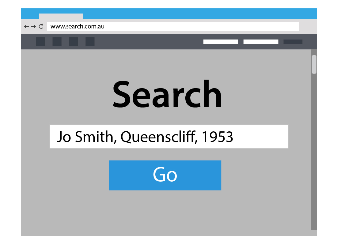 An illustration of a search field for a family history website